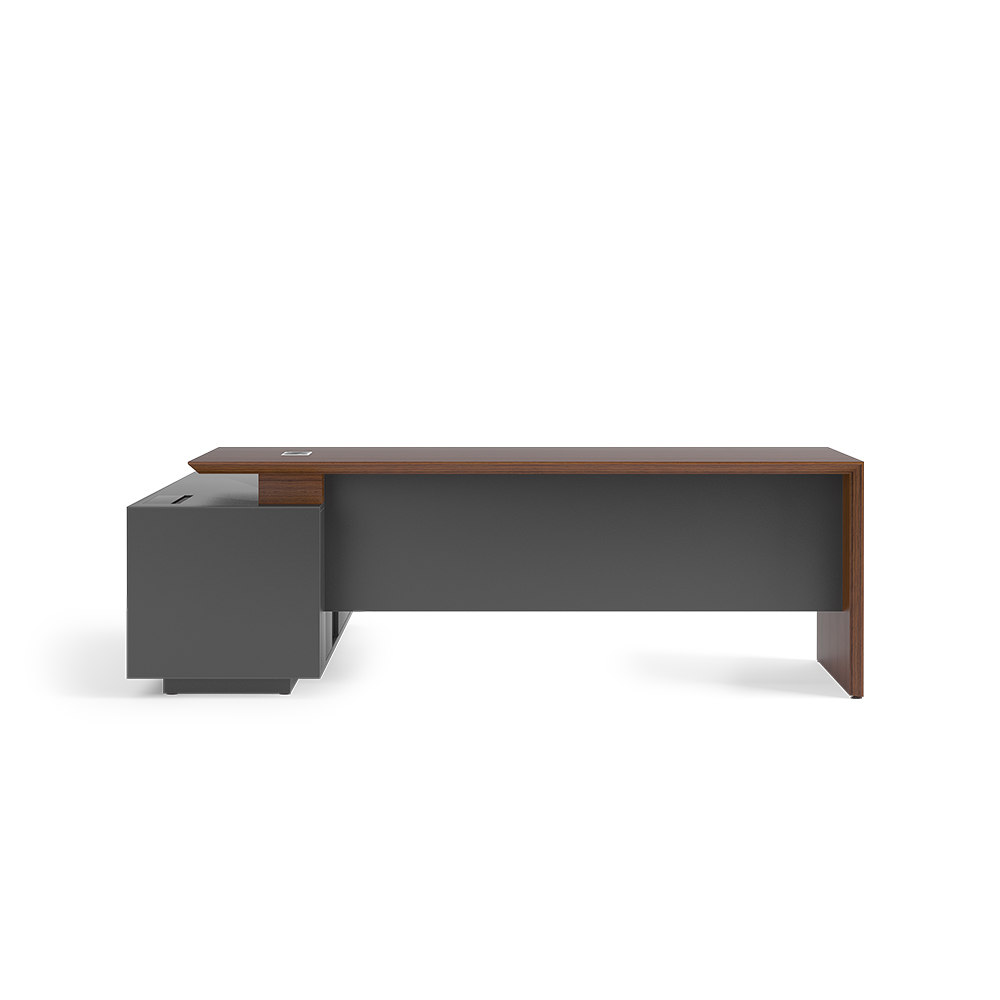 Desk with modesty supported by side storage
