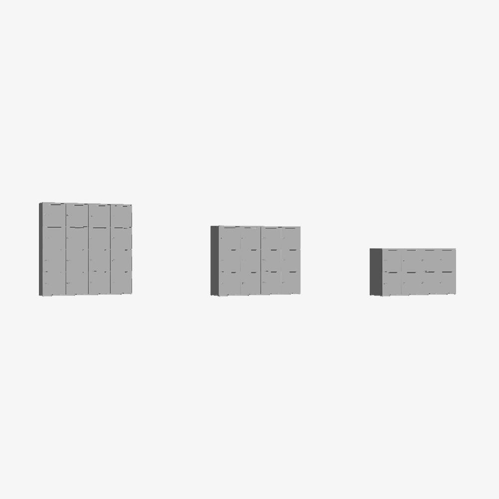3D Skab Wave Shape Door Quadruple Tower