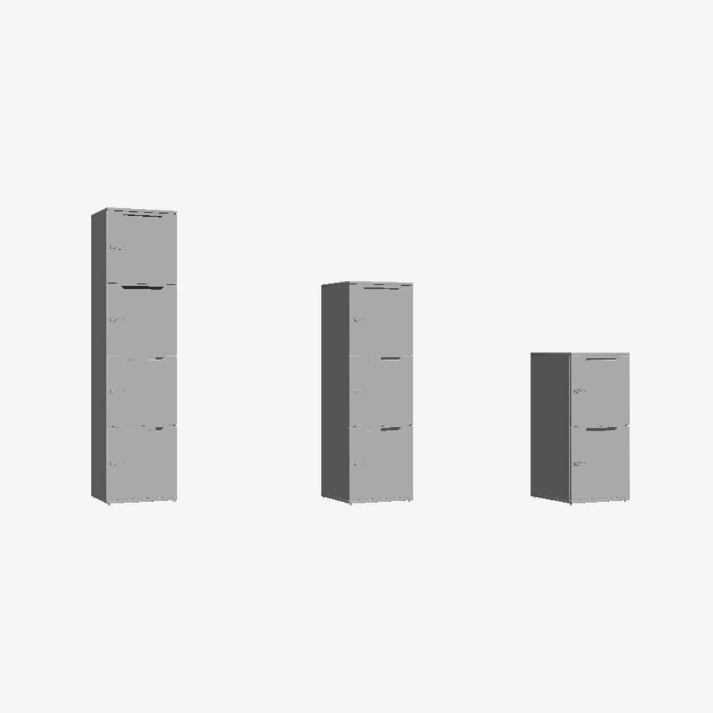 3D Skab Wave Shape Door Single Tower
