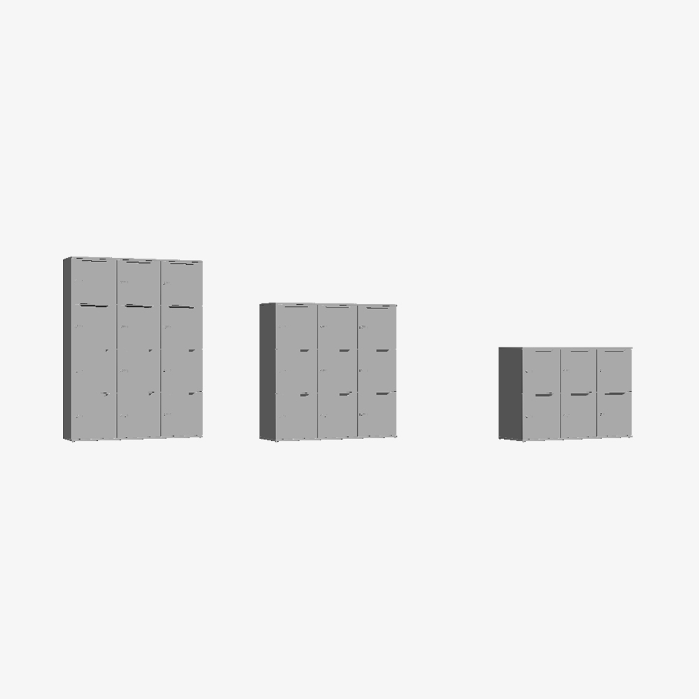 3D Skab Wave Shape Door Triple Tower